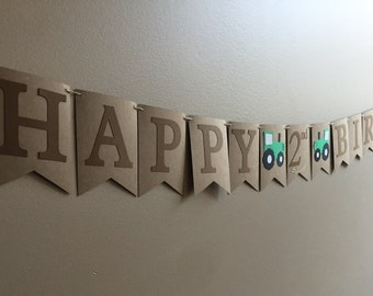Tractor/Farm/Barnyard/Fall Happy Birthday banner