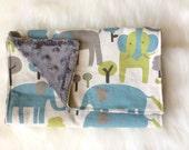 Elephant Playtime -  Baby Boy Burp Cloth Rag Gray turquoise boue green cotton + minky