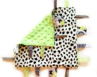 SALE Lime Dottie - Baby girl lovey ribbon tag sensory blanket with green minky