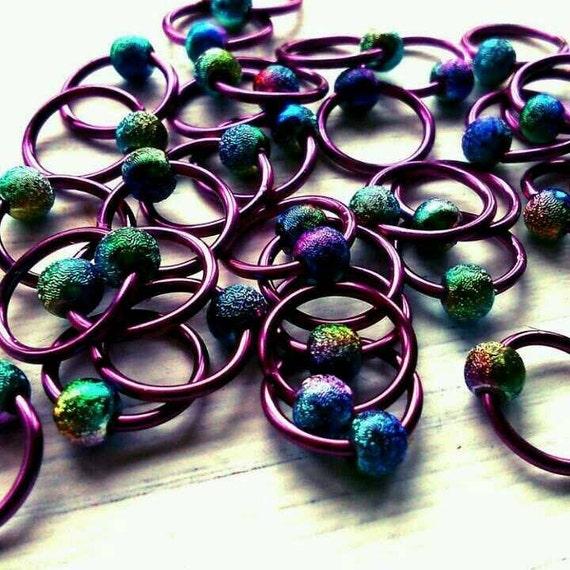 Knitting Stitch Marker Rings : 20 Knitting stitch marker rings Purple Stardust 6mm