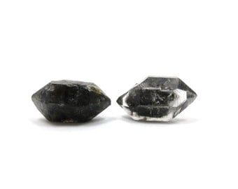 Herkimer Diamond Style Tibetan Quartz Double Terminated 2 Raw Crystals 21mm and 22mm Natural Rough Stone for Jewelry Making (Lot 9655)