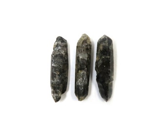 Tibetan Quartz Raw Crystals 3 Points 22mm x 5mm - 6mm Natural Rough Stones for Wire Wrapping & Jewelry (Lot 1071)