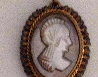Cameo Pendant, Ornament Cameo Pendant 1920 Roman Soldier