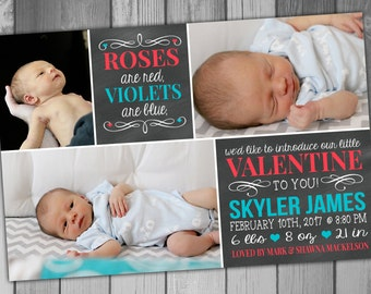 Birth Announcement Photo Birth Announcement Baby Boy Baby Girl Valentines Baby Chalkboard Baby Photo Announcement Roses Are