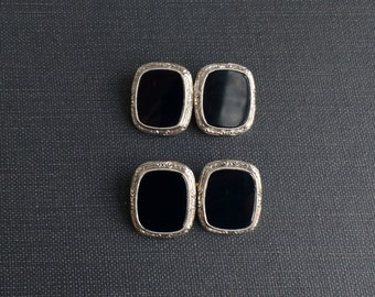 Antique Art Deco Gold Cuff Links. 14k White & Yellow Gold, Onyx.