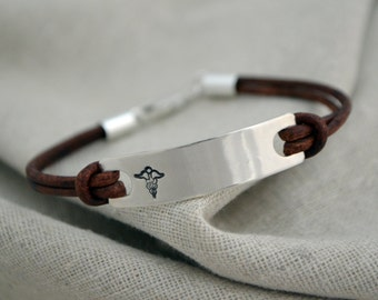 Two Sided Medical Alert Bracelet - Interchangeable Leather Straps