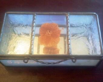 Vintage Stained Glass jewelry box, Glass jewelry box