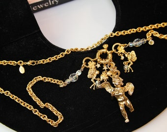 Signed KIRKS FOLLY  Goldtone AB Angels Necklace / Long chain #654
