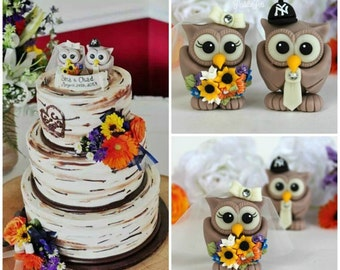 Owl wedding cake topper, wild flowers, woodland wedding, love birds with banner