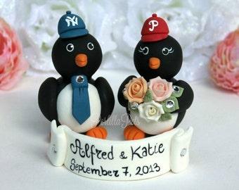 Baseball penguin wedding cake topper, sport themed wedding, love birds with banner