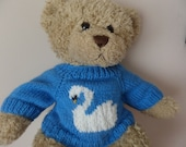 Teddy Bear Sweater - Hand knitted - Blue with Swan motif - fits Build a Bear
