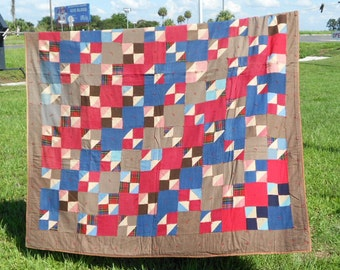 CLEARANCE, Vintage Quilt, Wool Quilt, 4 Patch, Flying Geese ,Red and Blue Quilt