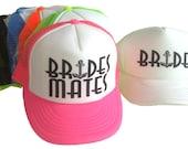 Bride's Mates Anchor Team Bride Mesh Trucker Hat Cap Snapback Bachelorette Party Neon