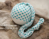 ready to ship, newborn photography prop, upcycled white sleep cap with green polka dots, newborn baby prop, newborn boy girl sleep cap