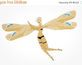 SALE Dragonfly articulated paper doll paper puppet unique unusual gift whimsical birthday present kraft paper decoration by dubrovskaya