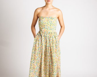Indian Cotton Strapless Floral On White Maxi Dress