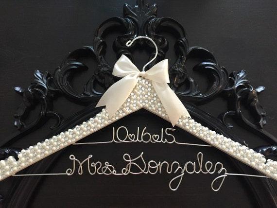Brides Hanger / Bridal BLING Hanger with Wedding Date / Bling Hanger / Glamorous Wedding Hanger / Personalized Name Hanger / Pearl Hanger
