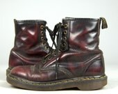 90s Dr Martens Marbled Burgundy Leather Combat Boots UK 5 US Womens 7
