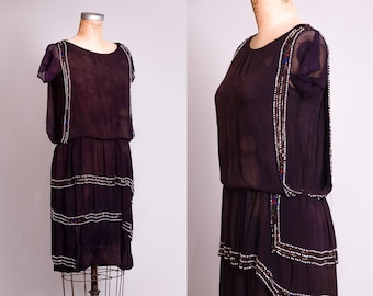 1920s Flapper Dress Hand Beaded Silk Gatsby Dress