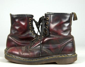 SALE 90s Dr Martens Marbled Burgundy Leather Combat Boots UK 5 US Womens 7