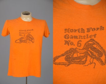 70s NIKE T Shirt North Fork UT Gauntlet Marathon Made in USA Hanes T Shirt