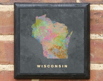 Wisconsin WI Splatter Watercolor Paint Effect Wall Art Sign Plaque Gift Present Home Decor Custom Personalized Color Vintage Style Classic