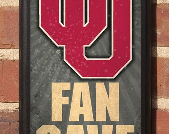 Oklahoma Sooners OU Fan Cave Wall Art Sign Plaque Gift Present Home Decor Vintage Style Classic Boomer Sooner Athletic Teams OK OU Big 12