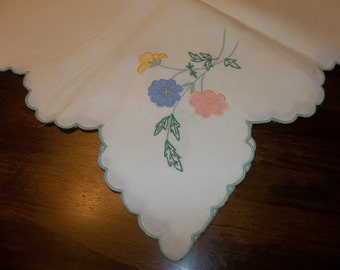 """Vintage Madeira Linen Tablecloth 42"""" Square...Perfect Condition...Hand Embroidery...Free Shipping"""