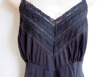 Full Slip black nylon fancy lace bodice sexy plus size lingerie 44 bust