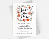 Printable Save The Date Printable - Romantic Botanical Wedding - Ready to Print PDF - Wedding Invites - Letter or A4 Size (Item code: P812)