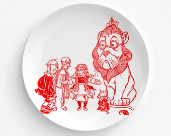 """Wizard Of OZ, Dorothy, Tin Man, ToTo, Red Illustration, Frank Baum, Melamine Plate, Kitchen, decorative plate, Dinner Plate, 10"""" plate"""