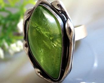 Peridot Ring Green Olivine Sterling Silver
