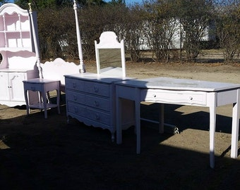Girls Bedroom Set For Custom Refinish, Canopy Bed, Cabinet with Hutch, Nighstand, Dresser with Mirror and Desk