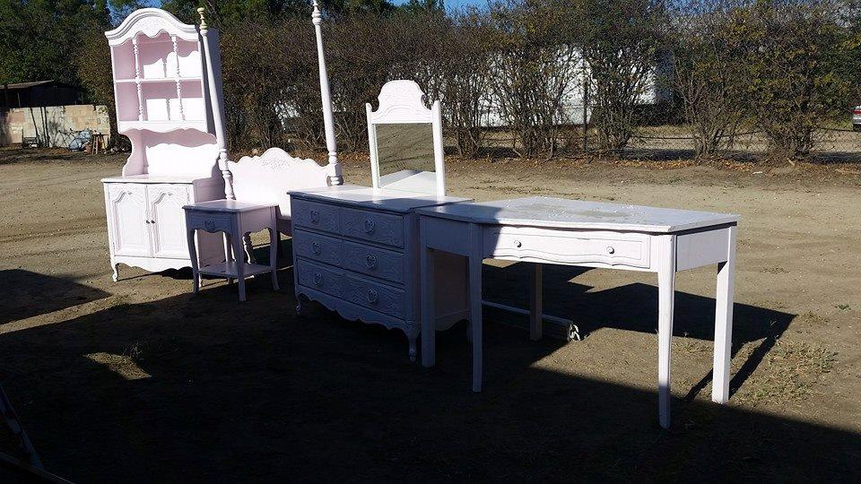Girls Bedroom Set For Custom Refinish Canopy Bed Cabinet