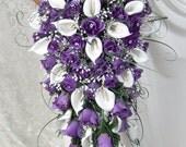 PURPLE CASCADE wedding flowers bouquet bouquets floral arrangements silk custom