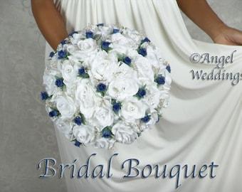SHANTI WHITE NAVY Accent Wedding Bouquet Package Silk Flowers Arrangement Bouquets Custom Corsage Boutonnieres Groom Bridesmaids Keepsake