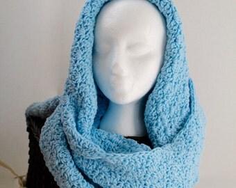 Hooded Scarf - Crochet -  Women or Teen - Light blue