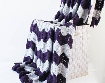 Afghan - Ripple Crochet Blanket - Grey and Plum Throw
