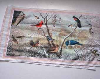 """Vintage 1979 National Wildlife federation  scarf shawl birds lovers  head band 12.5"""" x 44""""  2 Panel Scarf Christmas Gift for her"""