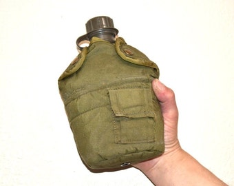 Army military  vintage  water bottle and bottle holder Pouch  Army Green belt bag  flask Holder travel bag Military Gear Belt Attachment