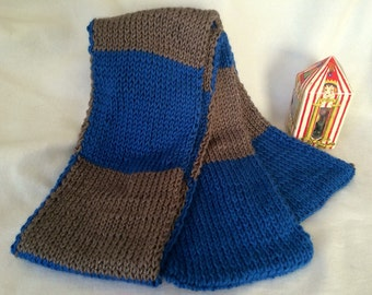 Ravenclaw House Knitted Scarf - Book Accurate - Blue - Bronze - HP - Handmade - Christmas in July - Summer - Graduation - Wedding - Teacher