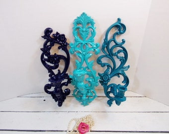 Vintage Ornate Sconces Set of 3 Random Blue Wall Sconces Wall Art Gallery
