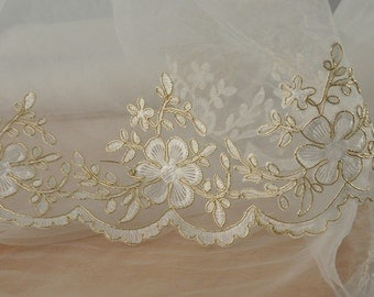 Gold Alencon Lace Trim , Floral Embroidery in Gold for Wedding, Veils, Gowns