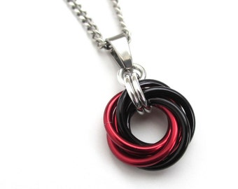 Red and black pendant necklace, chainmail love knot, chainmail jewelry