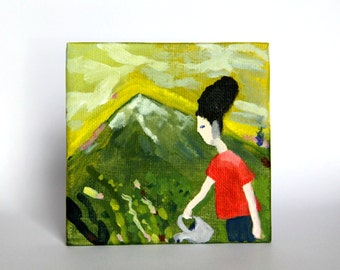 original acrylic painting, mountains, plants, gardening, garden care, woman portrait, female, small original art on canvas board