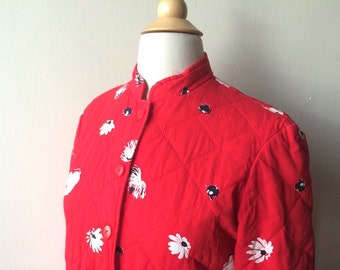 Vintage Red Quilted Flower Jacket
