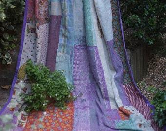 Green and mauve kantha, light green Kantha, Sari throw, Sari Blanket,Light Green Kantha Blanket,Kantha Throw, Indian Quilt,Vintage Kantha