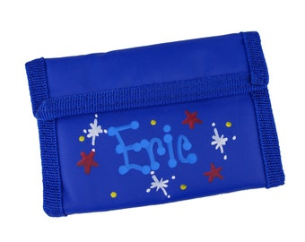 Personalized Childs Wallet Boys Wallet Blue Custom Tri fold Wallets Kids Monogrammed Wallet Money First Coin Purse Stocking Stuffer WALL-blu
