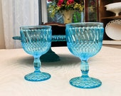 Vintage 8pc Blue Glass Goblets