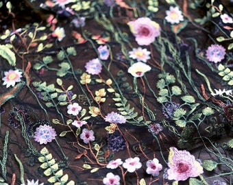 black tulle lace fabric, colorful embroidered lace fabric with flowers, 2016 new arrival, hot selling lace fabric